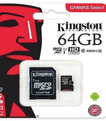 MICRO SD HC 64GB, 80MB/s, KINGSTON