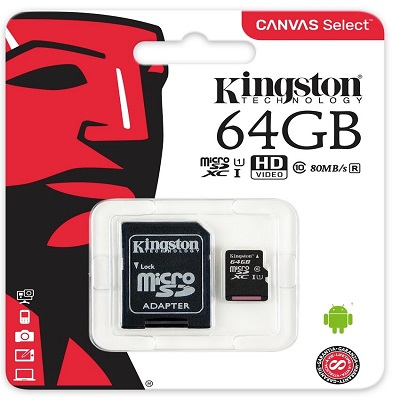 MICRO SD HC 64GB, 80MB/s, KINGSTON