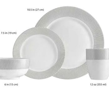 GREY LINE, AM02779, ENSEMBLE A DINER, 16 PIECES, PORCELAINE