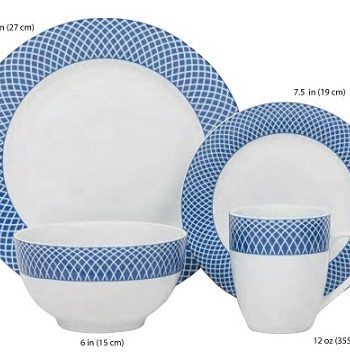 BLUE DIAMOND, HK03105, 16 PIECES, EN PORCELAINE, ENSEMBLE A DINNER