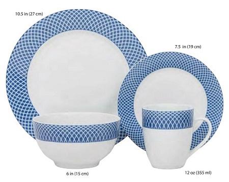 BLUE DIAMOND, HK03105, 16 PIECES, EN PORCELAINE, ENSEMBLE A DINNER