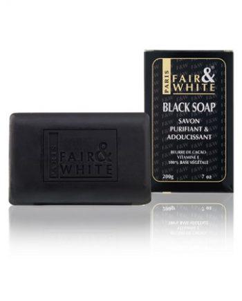 FAIR WHITE PARIS, BLACK SOAP, SAVON PURIFIANT ADOUCISSANT, 200G 7OZ, 877917005479