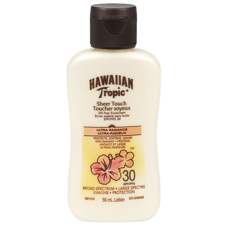 HAWAIIAN TROPIC, LOTION 30 SPF, ULTRA RADIANCE, SHEER TOUCH, 075486085230, 59 ML