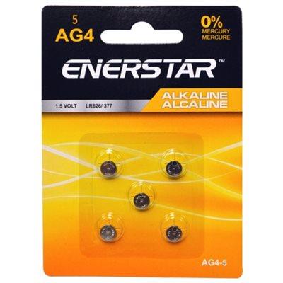 BATTERIE - PILES BOUTON DE ALCALINE 1.5 VOLTS, 0% MERCURE, PAQUET DE 5, AG4-5 ENERSTAR
