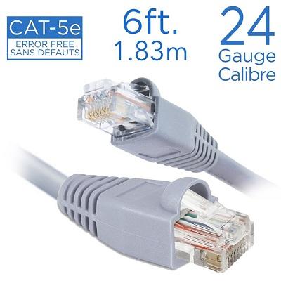 CÂBLE RÉSEAU DIRECT CAT-5E, 6 PI. 1.83 MÈTRES, 24 GAUGE/CALIBRE, CC-101 ELINK