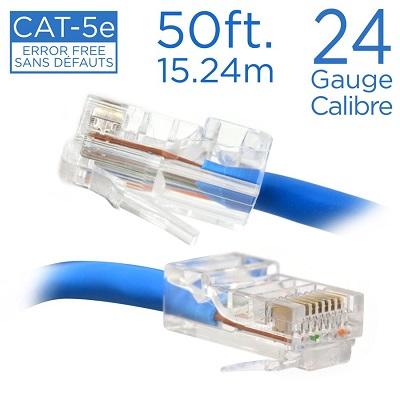 CÂBLE RÉSEAU DIRECT CAT-5E, 50 PI. 15.24 MÈTRES, 24 GAUGE/CALIBRE, CC-863 ELINK