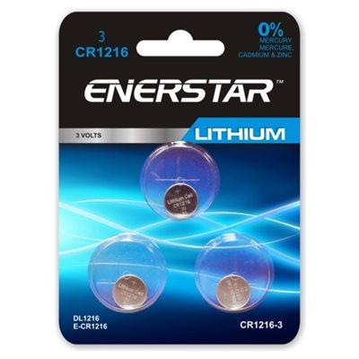 BATTERIE - PILES BOUTON DE LITHIUM 3 VOLTS, 0% MERCURE, PAQUET DE 3, CR1216-3 ENERSTAR