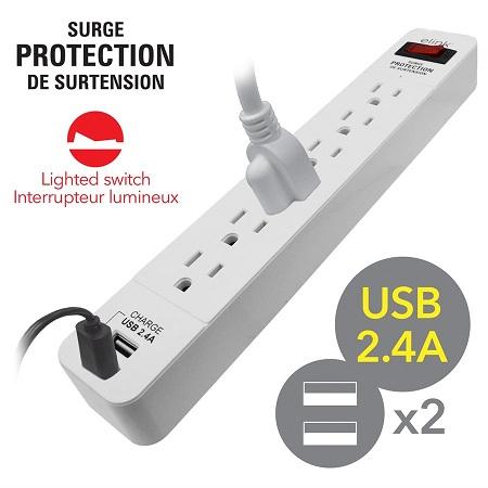 BARRE À 6 PRISES AVEC LIMITEUR DE SURTENSION ET 2 PORTS USB-CORDON 1.5 H, 300 JOULES, EL458 ELINK