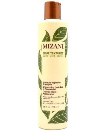 MIZANI TRUE TEXTURES - MOISTURE REPLENISH SHAMPOO INFUSED WITH COCONUT, OLIVE & MARULA OILS (SHAMPOOING HYDRATANT ET RÉGÉNÉRANT), 8.5 FL.OZ / 250 ML