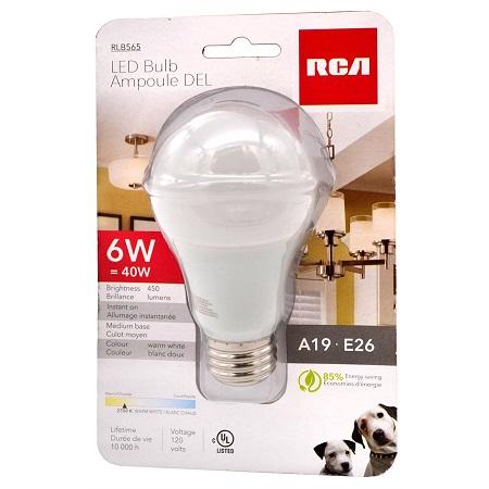 RCA AMPOULE DEL A19 5.5W(=40W), RLB565