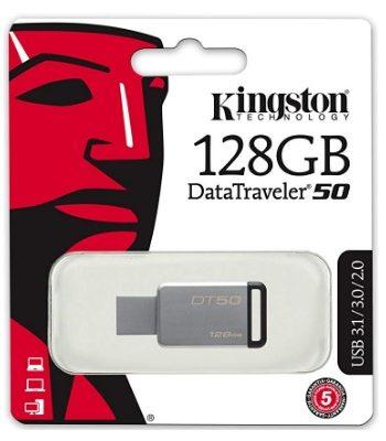 USB 2.0/3.0/3.1, DATATRAVELER 50, 128 GB KINGSTON