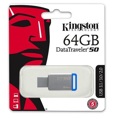 USB 2.0/3.0/3.1, DATATRAVELER 50, 64 GB KINGSTON