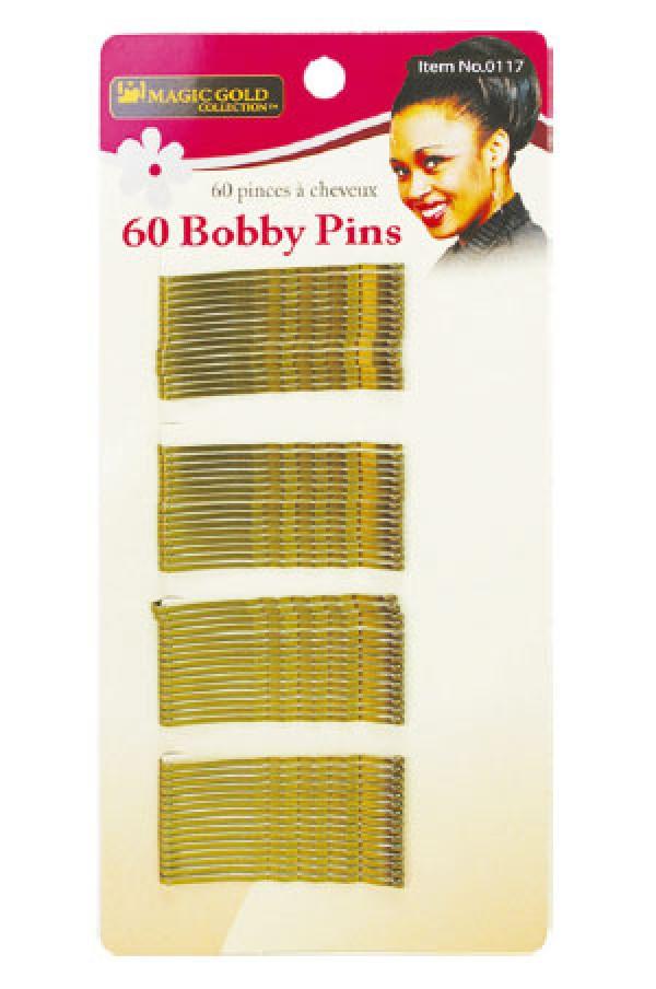 MAGIC GOLD - PAQ. OF 60 GOLD BOBBY PINS (60 PINCES À CHEVEUX), ITEM NO: 0117