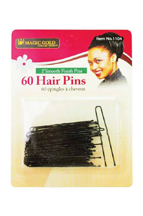 MAGIC GOLD - PAQ. OF 60 BLACK HAIR PINS 2'' SMOOTH FINISH PINS (60 ÉPINGLES NOIR À CHEVEUX), ITEM NO: 1104