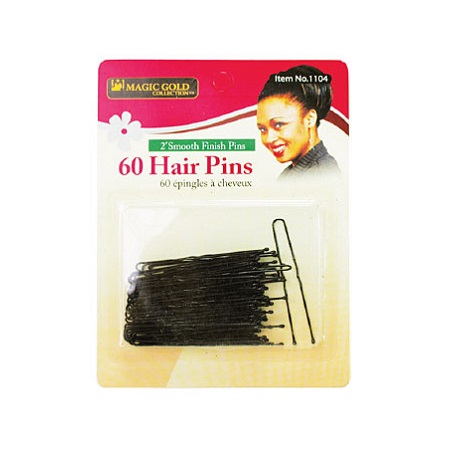 MAGIC GOLD - PAQ. OF 60 BLACK HAIR PINS 2'' SMOOTH FINISH PINS (60 ÉPINGLES NOIR À CHEVEUX), ITEM NO: 1104
