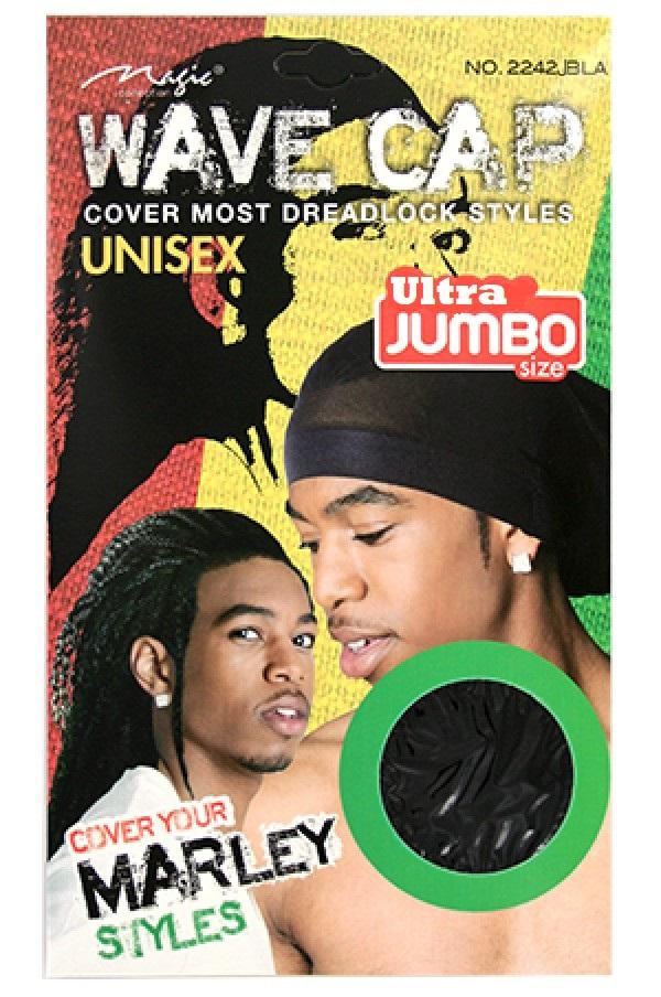 WAVE CAP UNISEX ULTRA JUMBO SIZE BLACK, FLEXIBLE & BREATHABLE, COVER MOST DREADLOCK STYLES, ITEM NO. 2242JBLA