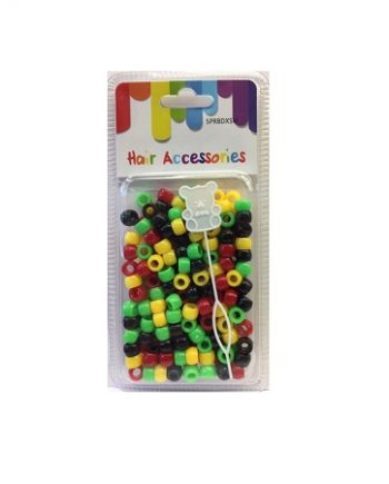 HAIR ACCESSORIES - PLASTIC BEADS (PERLES) RED/GREEN/YELLOW/BLACK TONE SMALL, ITEM NO. 5PRBDXSM-AFRICA