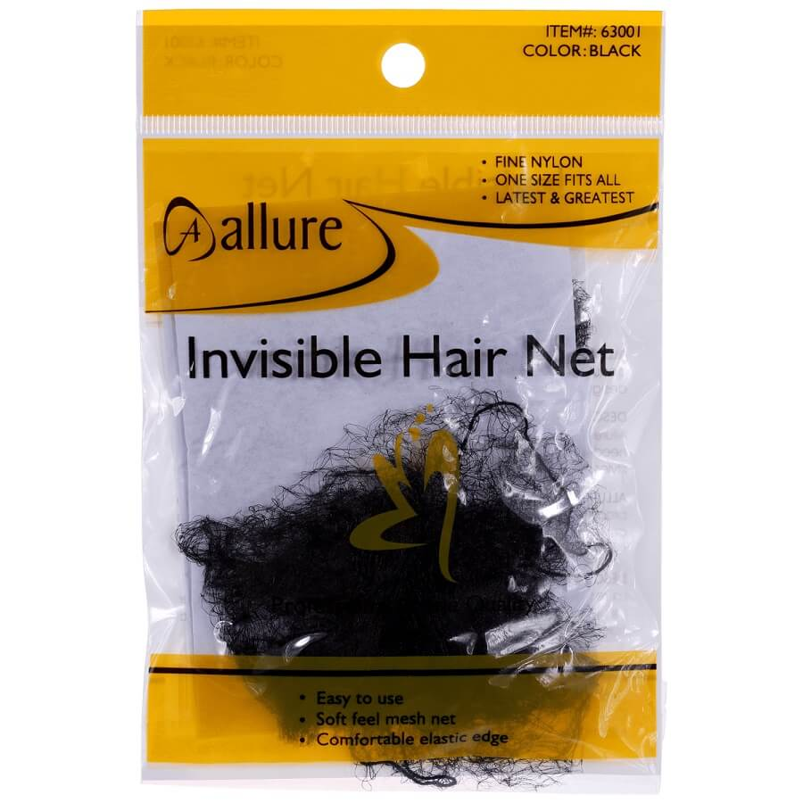 ALLURE - PAQ. OF 3 PCs INVISIBLE HAIR NET BLACK, PROFESSIONAL GRADE QUALITY, FINE NYLON, ONE SIZE FITS ALL, ITEM NO. 63001