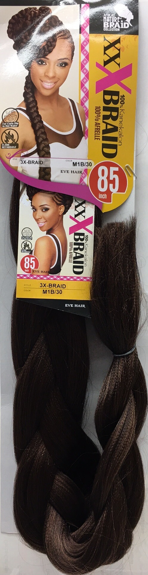 AFRICAN NATURE BRAID COLLECTION - PAQ. DE 1 EVE HAIR 3X-BRAID (XXX), 100% KANEKALON, 100% AFRELLE, 85'' INCHES, COLOR M1B/30