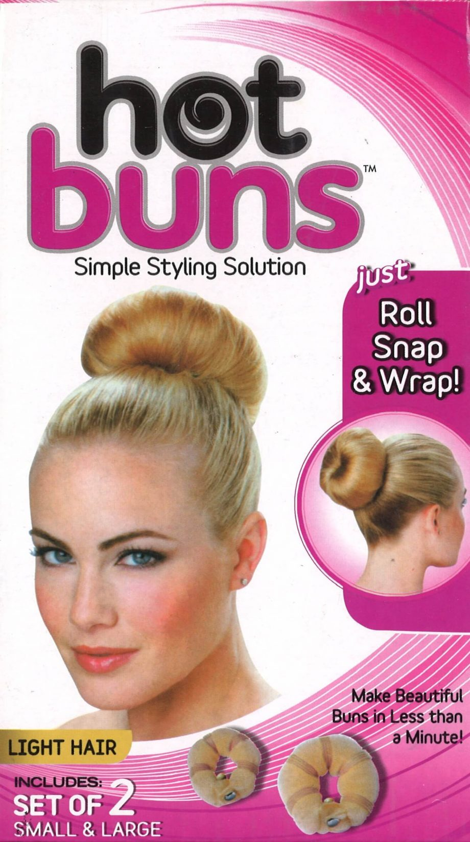 APG - PAQ. OF 2 HOT BUNS SMALL & LARGE LIGHT HAIR, JUST ROLL SNAP & WRAP, SIMPLE STYLING SOLUTION, ITEM NO. 4892