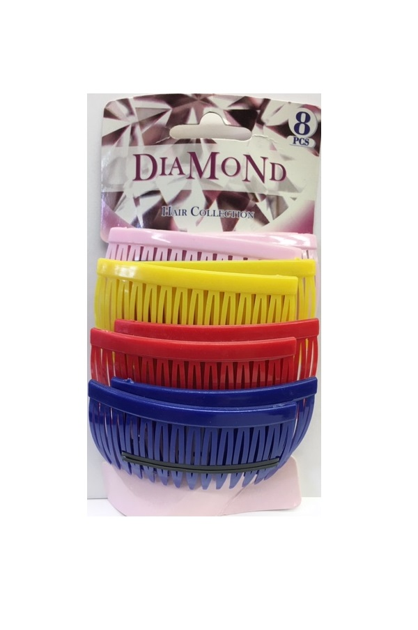 DIAMOND - PAQ. OF 8 PCs COMB HAIR PIN ASSORTIES COLORS (MIX), PINK/YELLOW/RED/BLUE, HAIR COLLECTION, ITEM NO. 5419