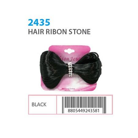 FASHION JEWELRY - HAIR RIBON STONE BLACK, ITEM NO. 2435