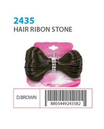 FASHION JEWELRY - HAIR RIBON STONE DARK BROWN, ITEM NO. 2435