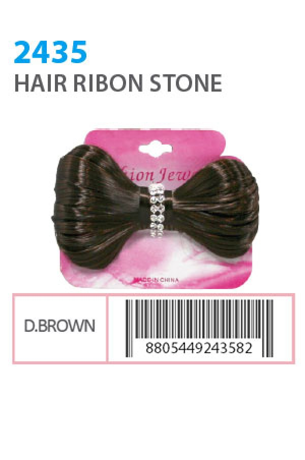 FASHION JEWELRY - HAIR RIBON STONE DARK BROWN, ITEM NO. 2435