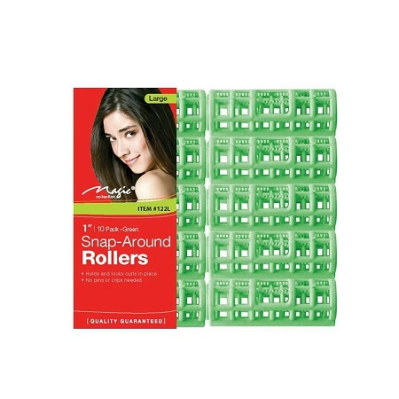 MAGIC COLLECTION - PAQ. OF 10 SNAP-AROUND ROLLERS LARGE 1'' GREEN. ITEM NO. 122L