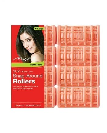 MAGIC COLLECTION - PAQ. OF 8 SNAP-AROUND ROLLERS X-LARGE 1 1/4'' PINK. ITEM NO. 122XL