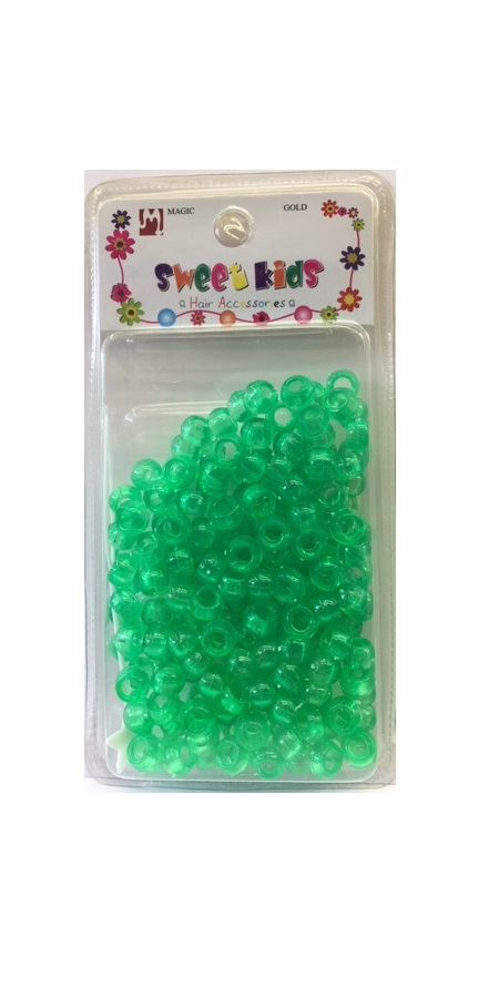 MAGIC GOLD - PAQ. OF 200 PLASTIC BEADS (PERLE) CRYSTAL GREEN SMALL, SWEET KIDS HAIR ACCESSORIES, ITEM NO. 1605