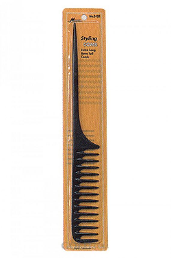 STELLA COLLECTION - EXTRA LONG BONE TAIL STYLING COMB BLACK, CHEMICAL & HEAT RESISTANCE, UNTANGLE, SMOOTH FINISH & SMOOTH NON-SCRATCHING TEETH, PRENIUM QUALITY, ITEM NO. 2420
