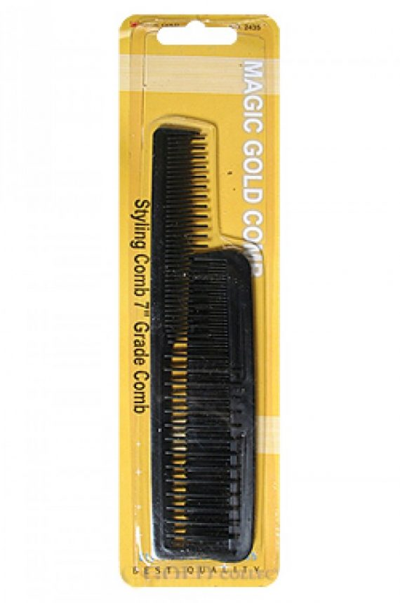 MAGIC GOLD - PAQ. OF 2 STYLING COMB 7'' GRADE COMB BLACK, STYLE, SMOOTH FINISH, BEST QUALITY, ITEM NO. 2435