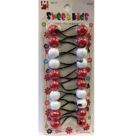 MAGIC GOLD - PAQ. OF 10 BUBBLE ROUND WHITE/RED 20MM FOR HAIR, SWEET KIDS HAIR ACCESSORIES, ITEM NO. 2855
