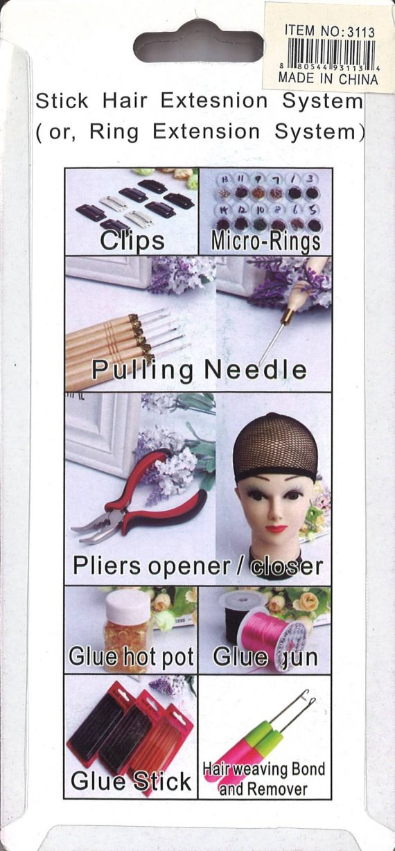 STICK HAIR EXTENSION TOOL (RING EXTENSION) SYSTEM, PLIER & NEEDLE, ITEM NO. 3113