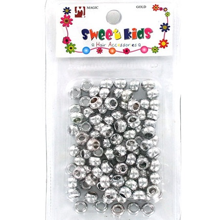 MAGIC GOLD - PLASTIC BEAD (PERLE) SILVER TONE SMALL, HAIR ACCESSORIES COLLECTION, ITEM NO. 5040SL