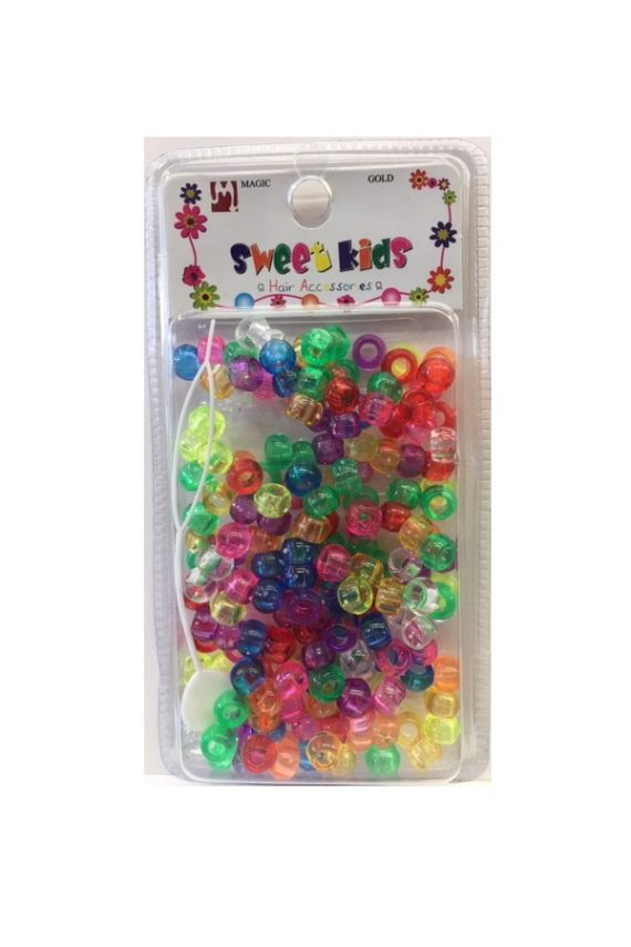 MAGIC GOLD - PAQ. OF 200 PLASTIC BEADS (PERLE) CRYSTAL MIX SMALL, SWEET KIDS HAIR ACCESSORIES, ITEM NO. 5042CA