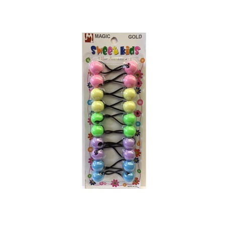 MAGIC GOLD - PAQ. OF 10 BUBBLE ROUND PINK/YELLOW/GREEN/PURPLE/LIGHT BLUE 20MM FOR HAIR, SWEET KIDS HAIR ACCESSORIES, ITEM NO. 5053PA