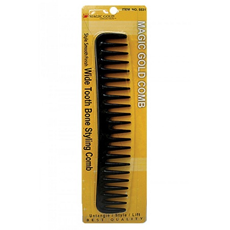 MAGIC GOLD - STYLE SMOOTH FINISH WIDE TOOTH BONE STYLING COMB BLACK, UNTANGLE, STYLE, LIFT, BEST QUALITY, ITEM NO. 5531
