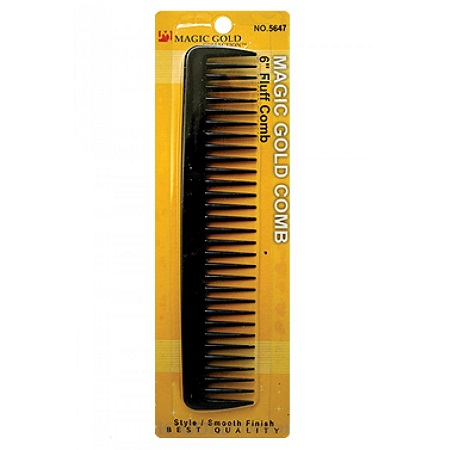 MAGIC GOLD - 6'' FLUFF COMB BLACK, STYLE, SMOOTH FINISH, BEST QUALITY, ITEM NO. 5647