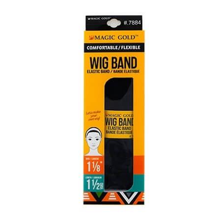 MAGIC GOLD - COMFORTABLE / FLEXIBLE WIG BAND BLACK ELASTIC BAND (BANDE ÉLASTIQUE) 1 1/8'' WIDE, 1 1/2 YARD LENGTH, ITEM NO. 7884