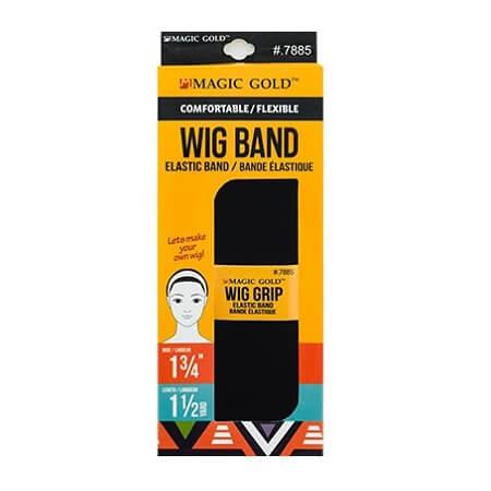 MAGIC GOLD - COMFORTABLE / FLEXIBLE WIG BAND (GRIP) BLACK ELASTIC BAND (BANDE ÉLASTIQUE) 1 3/4'' WIDE, 1 1/2 YARD LENGTH, ITEM NO. 7885