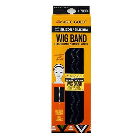 MAGIC GOLD - WIG BAND WITH SILICON BLACK ELASTIC BAND (BANDE ÉLASTIQUE) ONE SIDE SILICON, ITEM NO. 7890