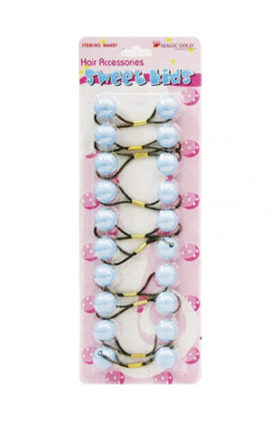 MAGIC GOLD - PAQ. OF 10 BUBBLE ROUND SKY BLUE 20MM FOR HAIR, SWEET KIDS HAIR ACCESSORIES, ITEM NO. R10-2842