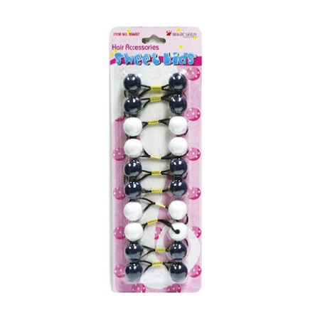 MAGIC GOLD - PAQ. OF 10 BUBBLE ROUND NAVY/WHITE 20MM FOR HAIR, SWEET KIDS HAIR ACCESSORIES, ITEM NO. R19-2851