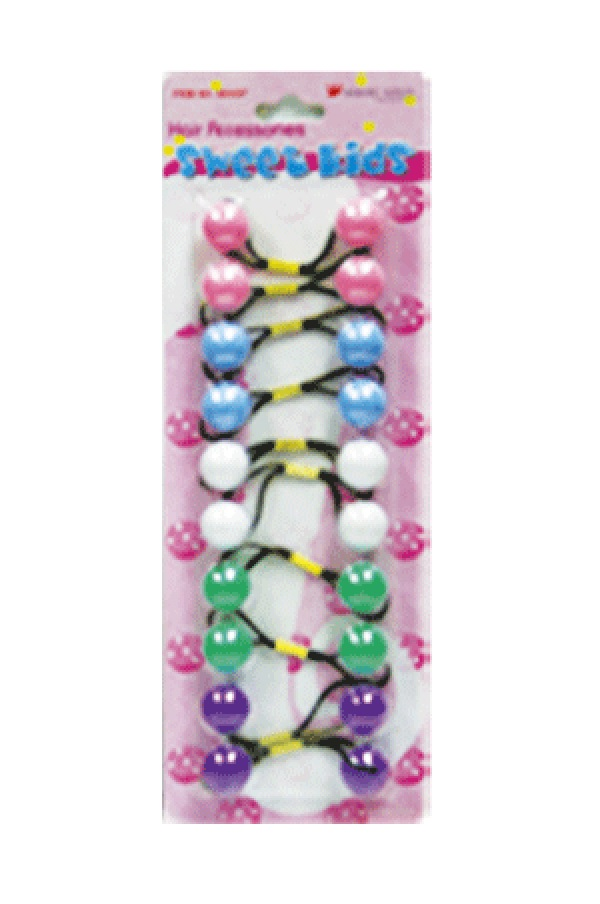 MAGIC GOLD - PAQ. OF 10 BUBBLE ROUND PINK/MARIN BLUE/WHITE/GREEN/PURPLE 20MM FOR HAIR, SWEET KIDS HAIR ACCESSORIES, ITEM NO. R25-2857