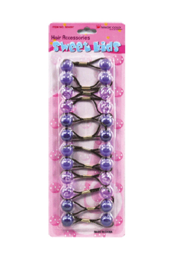 MAGIC GOLD - PAQ. OF 12 BUBBLE ROUND PURPLE/CLEAR PURPLE FOR HAIR, SWEET KIDS HAIR ACCESSORIES, ITEM NO. S7