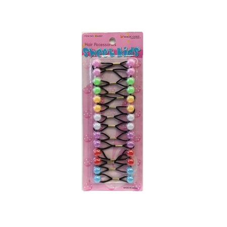 MAGIC GOLD - PAQ. OF 14 BUBBLE ROUND JELLY PASTEL MIX FOR HAIR, SWEET KIDS HAIR ACCESSORIES, ITEM NO. XS21