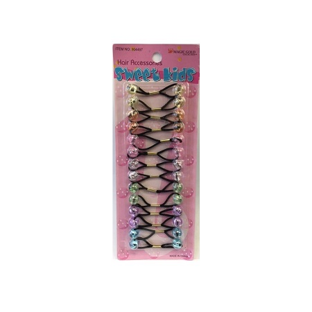 MAGIC GOLD - PAQ. OF 14 BUBBLE ROUND JELLY PASTEL MIX FOR HAIR, SWEET KIDS HAIR ACCESSORIES, ITEM NO. XS22
