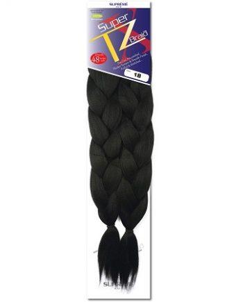 SUPRÊME HAIR - PAQ. DE 2 SUPER X TZ BRAID (CHEVEUX TRESSÉS) 48'' INCHES, 100% KANEKALON MODACRYLIC FIBER, SYNTHETIC HAIR, COLOR 1B